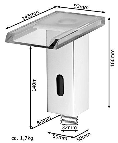 Sanlingo – Infrarot-Sensorarmatur, Temperaturregler, Batteriebetrieb, Wasserfall, LED-Beleuchtung, Chrom-Glas - 5