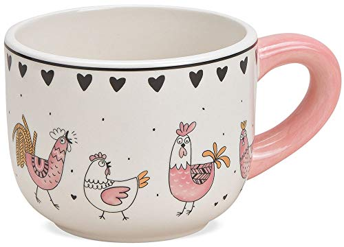 matches21 Tasse Kaffeetasse Kaffeebecher mit gemaltem Hahn & Huhn Motiv Hühner Comic weiß/rosa Keramik - 1 STK 9 cm 350 ml