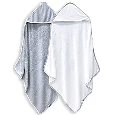 2 Pack Premium Bamboo Baby Bath Towel - Ultra Absorbent - Ultra Soft Organic Hypoallergenic Hooded Towels for Babies,Toddler,Infant - Newborn Essential -Perfect Baby Registry Gifts for Boy Girl