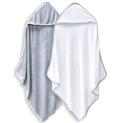 2 Pack Premium Bamboo Baby Bath Towel - Ultra Absorbent - Ultra Soft Hooded Towels for Babies,Toddler,Infant - Newborn Essential -Perfect Baby Registry Gifts for Boy Girl