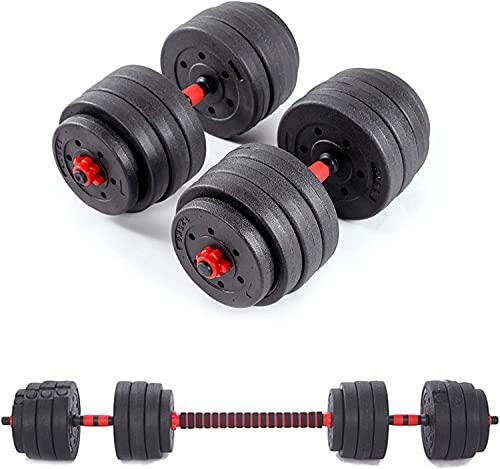2 in 1 Hanteln Set l Hantel set Verstellbare 40 kg l Kurzhanteln & Langhanteln   Fitness für Männer & Frauen
