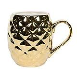 el & groove Ananas 3D Tasse groß Gold aus Porzellan, goldene Ananas mit 500ml Füllvolumen ideal...