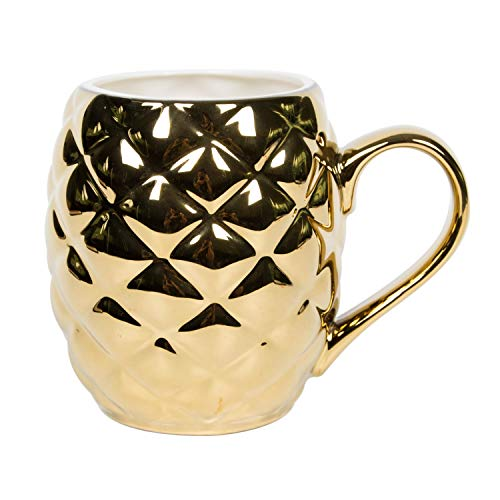 el & groove Ananas 3D Tasse groß Gold aus Porzellan, goldene Ananas mit 500ml Füllvolumen ideal für Cocktails Moscow Mule, Pineapple, Pool Cocktailparty Becher, Ananas Deko Weihnachstgeschenk