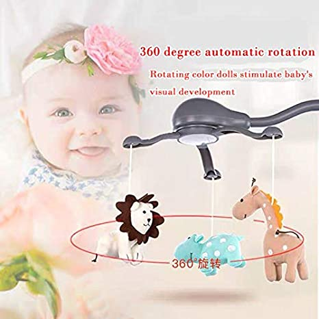 Grey Newborn Nursery Toys with Cradle Vibration. Includes Light Projector with Stars and Shapes Hougyi Baby Music Mobile for Crib Playpen with Nursy Lights,Relaxing Music and Natural Sounds
