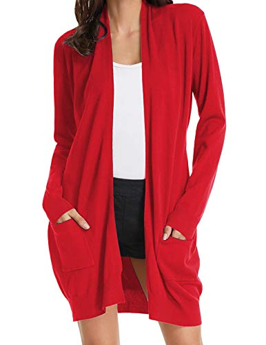 Womens Essential Solid Open Front Long Knited Cardigan Sweater Red M