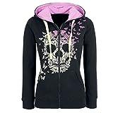 BUKINIE Womens Skull Printed Hoodies Sweatshirt Plus Size Steampunk Gothic Printed Kangroo...