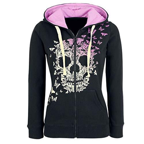 WUAI-Women Skull Printed Hoodies Sweatshirt Plus Size Steampunk Gothic Printed Kangroo Pockets Pullover Tops(Pink 1,3X-Large)