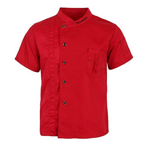 P Prettyia Atmungsaktive Kurzarm Kochjacke Backjacke Kochkleidung Koch Gastronomie Berufsbekleidung Arbeitskleidung für Restaurant Gastronomie – Rot, 2XL - 3