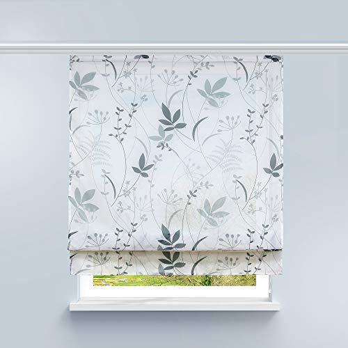 HongYa Raffrollo Voile Gardine Transparente Raffgardine mit Klettschiene Küche Vorhang Kleinfenster H/B 140/100 cm Blatt Muster