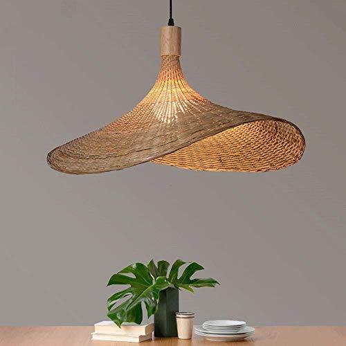 CSSYKV Estilo Europeo Tejido De Bambú Comedor Araña Casa De Familia Sala De Estar Arte De Bambú Escalera Creativa Sombrero De Paja Lámparas Lámpara De Decoración De Techo E27