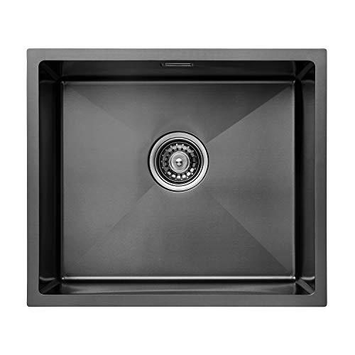 CECIPA Fregadero de Cocina un Seno,50cm*43 cm, Incluyendo Rebosadero y Juego de Desagüe I Sobre Encimera o Enrasado… (Negro)