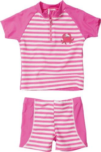 Playshoes Baby - Mädchen Schwimmbekleidung, gestreift 460102 2 tlg. Bade-Set (T-Shirt und Badeshorty) Krebs von Playshoes mit UV-Schutz nach Standard 801 und Oeko-Tex Standard 100, Gr. 74/80, Mehrfarbig (900 original)