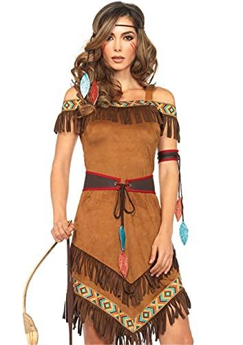 Disfraz de Halloween Disfraz de Princesa India Aborigen Primitiva Persona Play Play Tassel Savage Forest Hunter Rendimiento Disfraz-Caqui_Cdigo