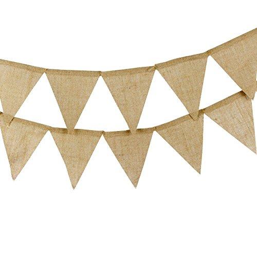 13pcs banderines,Banderín de arpillera,3.7M Guirnalda de banderines, vintage Decoración elegante para dormitorio de fiesta de cumpleaños o decoración de bodas