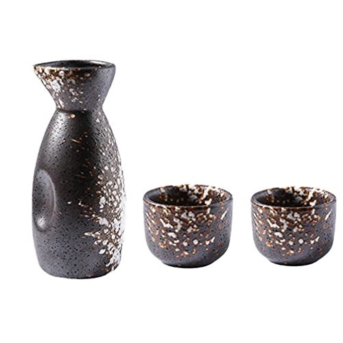 Angoily 3 Unids/Set de Sake de Estilo Japonés de Cerámica Set de Sake Set 1 Botella de Sake 2 Tazas de Sake Set de Regalo de Sake