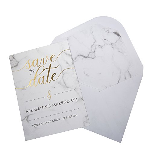 Neviti–Schrift Marmor–Save The Date Karten mit Umschlägen, 10Stück