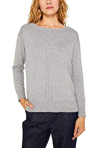 ESPRIT Damen 099EE1I011 Pullover, Grau (Light Grey 5 044), Large (Herstellergröße: L)