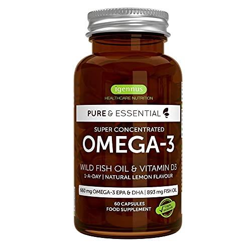 Pure & Essential Aceite de Pescado Salvaje Omega-3 410 mg EPA y 250 mg DHA por cápsula y Vitamina D3, sabor a limón, 60 cápsulas