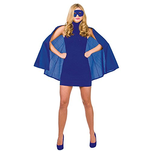 Super Hero Cape with mask - BLUE SUPERHERO LADIES FANCY DRESS COSTUME HEROINE SUPER WOMAN OUTFIT