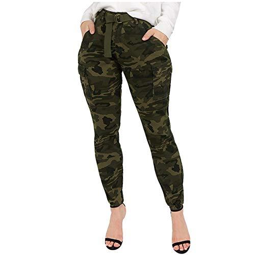Ansenesna Hose Damen Camouflage Cargo High Waist Elegant Cargohose Frauen Tarnmuster Lang Mit Seitentaschen Tarnhose (Grün,XL)