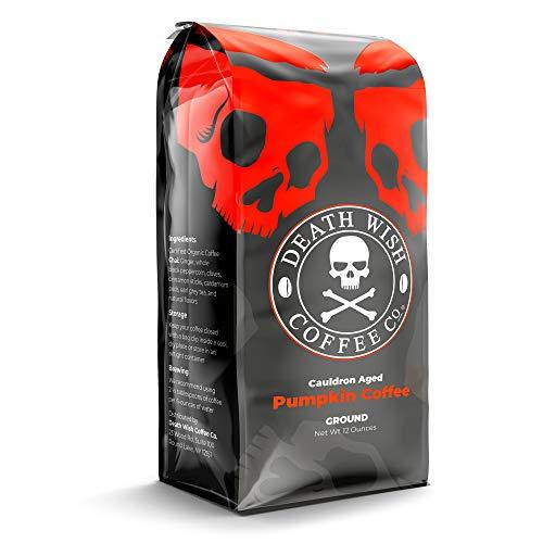 DEATH WISH COFFEE Organic Pumpkin Spice Dark Roast Coffee Grounds [12 oz.] The World's Strongest, Fair Trade, Arabica, Robusta, Chai, Cardamom, Cinnamon, and Ginger Infused Spices