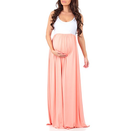 Mother Bee Women's Sleeveless Ruched Color Block Maxi Maternity Dress by Made...