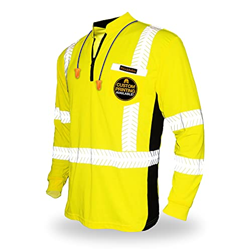 KwikSafety (Charlotte, NC) ENGINEER Long Sleeve (Y-Neck Zipper w/POCKET) Class 3 ANSI High Visibility Safety Shirt Tape Construction Security Hi Vis Clothing Men Long   Yellow Small