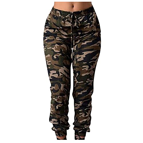 Cerlemi Damen Bleistifthose Plus Size Hose Freizeithose Jogginghosen Camouflage Print Slim Belt Pants Wanderhose Freizeithose Jogger Leinenhose Yogahosen Taille Weites Streetwear