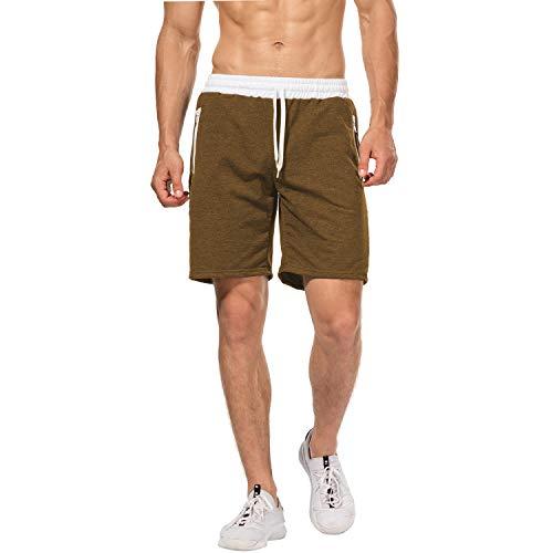 CHYU Herren Sport Joggen und Training Shorts Fitness Kurze Hose Jogging Hose Bermuda Reißverschlusstasch (M, Brown)