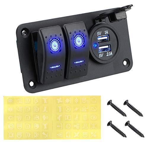 DEFTSHEEP 1SET 2/3 GANGER 12 ~ Control de circuito de 24V Voltímetro digital DUAL USB Puerto de puerto USB Combinación para panel de interruptores de automóviles de barco a prueba de agua