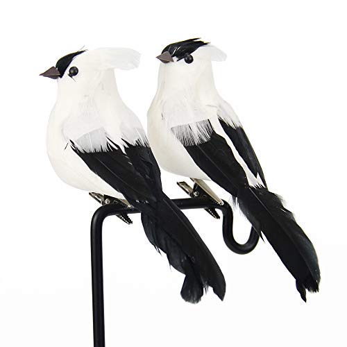 LWINGFLYER Artificial Simulation Foam Birds Feather Love Birds for Craft Home Ornaments Garden Wedding Decoration Embellishing 12cm/4.72inch (2pcs, White)