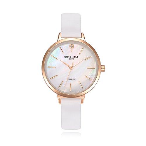 Damen Uhren, Elegante Damen Lederband Armbanduhren mit Roségold Edelstahlgehäuse Damenuhr Wasserdicht Quarzuhr Ziffer Blattfar be Perlmutt für Hübsche Frau Mädchen-Weiß