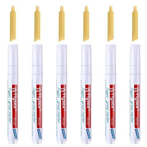 MOPOIN Fugenstift, 6 Stück Fugenweiss Stift Wasserfest mit Ersatzspitze, Fugenmarker Fliesenstift für Fliesen Wand Flur (Weiß)