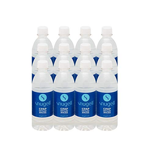 Snugell Distilled Water for CPAP Humidifiers | 12 Bottle Pack 16.9 oz H20 | Travel Friendly | 16.9oz H2O | Made in USA |