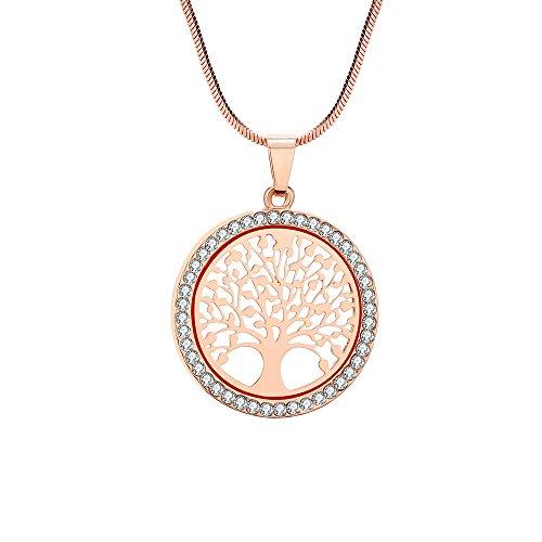 Collana per Donna, Collana Ciondolo Albero della Vita per Bambina Collana in Oro rosa o Argento con Cristallo (Oro rosa)