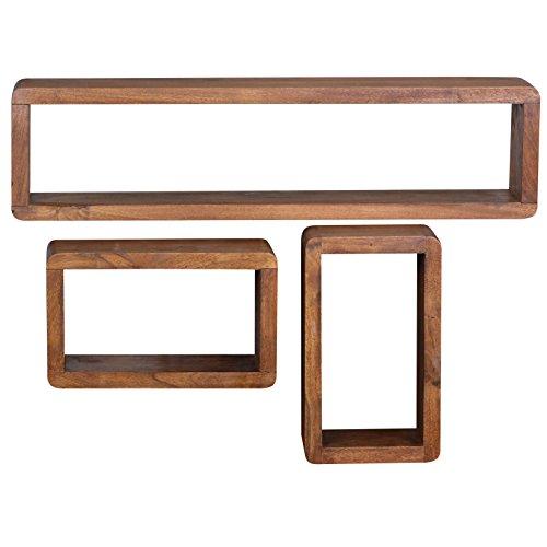 WOHNLING 3er Set Wandregale Massiv-Holz Sheesham Holz-Regal Landhaus-Stil Höngeregal Echt-Holz Design Wand-Board Natur-Produkt Wandkonsole dunkel-braun unbehandelt Regale zum Aufhöngen Unikat Ablage
