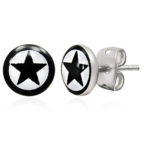 Zense-Pendientes para hombre acero inoxidable, color negro, plateado, con estrella y cierre ZE0044 clavija de carpintería