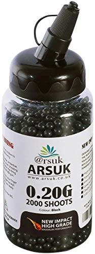 ARSUK Balines de Airsoft, Munición Bolas de Paintball 6mm, 0.20g de Alto Grado Precision de plástico Cantidades; 2000