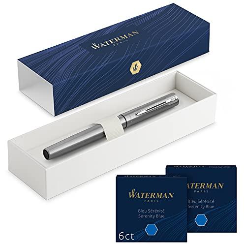 Waterman Allure pluma estilográfica | acero inoxidable con adorno cromado | plumín fino | con 12 cartuchos de tinta azul cortos | estuche de regalo
