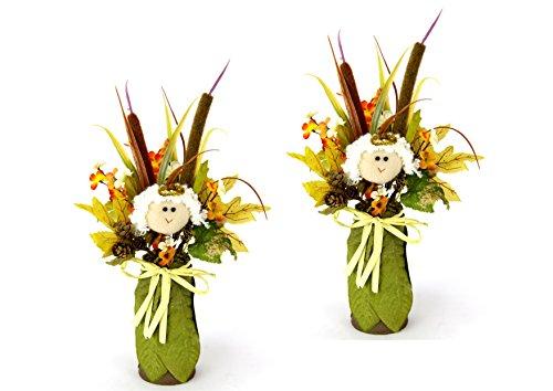 Flair Flower Künstliches Blumenarrangement Herbst Blumen Kunstblumen Deko Herbstdeko Ornamente Laub Herbstgesteck Geschenk Deko für Terrasse Eingang 2er Set