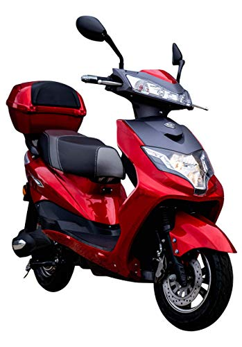 "Elektroroller ""EAGLE"", 2000 Watt, 60 km Reichweite, 45 km/h, E-Scooter, Elektro-Roller, E-Roller mit Straßenzulassung, Lithium-Akku, Produktvideo, Rot"