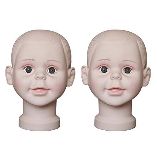 Generic 2pcs Tête de Mannequin Enfant Modèle Support Porte Perruque Affichage Chapeau Lunettes Écharpe