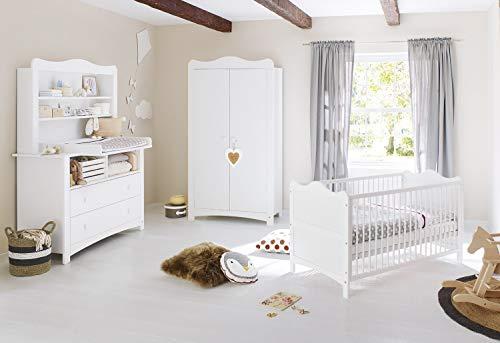 Pinolino Sparset Florentina, Kinderbett mit Lattenrost und Wickelkommode inkl. Wickelaufsatz und Regalaufsatz für Babys und Kleinkinder, aus weißem Dekor