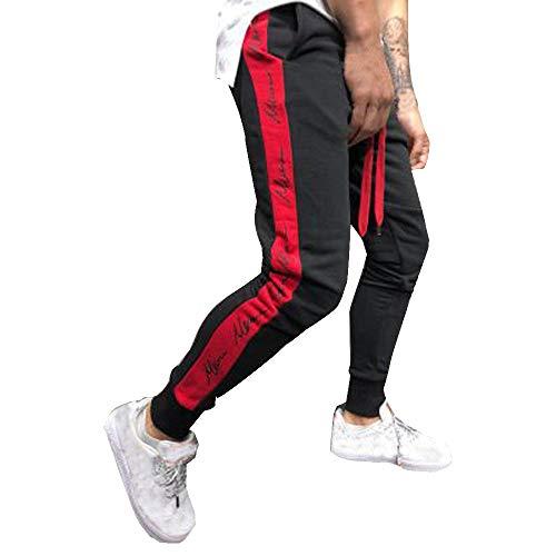 VPASS Pantalones para Hombre,Impresión de Letras Pantalones de chándal Sueltos Ocasionales Running Jogging Pantalon Slim Fit Pantalones Trend Largo Pantalones Ropa de Hombre Pants