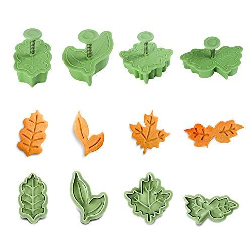 GWHOLE 4tlg Herbst Ausstechformen Blätter Ausstecher Kunststoff Stempel für Keks Plätzchen Fondant Tortendekoration