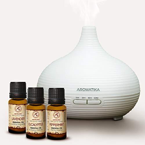 Elektrischer Diffuser und Ätherische Öle Set 3x10ml - Lavendelöl - Pfefferminzöl - Eukalyptusöl - Led Aroma Diffuser - Ultraschall Luftbefeuchter - Raumbefeuchter - Duftöldiffusoren - Aromatherapie