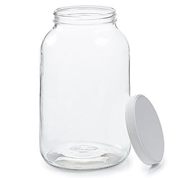 Empty 1 Gallon Glass Jar w/Airtight Leakproof Plastic Lid - Wide Mouth Easy to Clean - Dishwasher Safe - USDA Certified - Kombucha Tea Kefir Canning Sun Tea Fermentation Food Storage