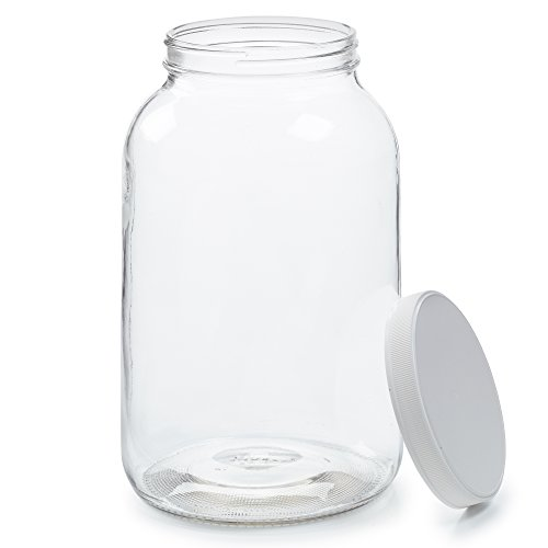 Empty 1 Gallon Glass Jar w/Airtight Leakproof Plastic Lid - Wide Mouth Easy to Clean - BPA Free & Dishwasher Safe - USDA Certified - Kombucha Tea, Kefir, Canning, Sun Tea, Fermentation, Food Storage
