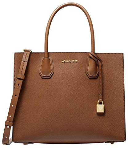 """Luggage saffiano leather w/ Golden hardware. Open top. Exterior features logo lettering and hang charm. 6.5"""" double handles drop. Bag converts from tote to crossbody by attaching strap, 25"""" drop. Interior Details: Center Zip Compartment With Slip Poc..."""