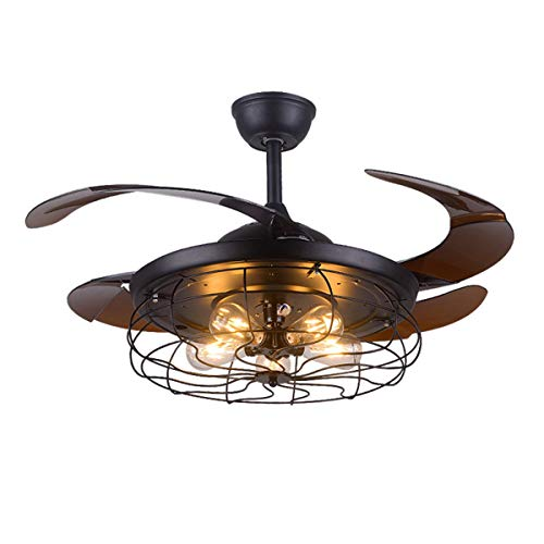 TC-Home 42' Retractable Ceiling Fan with Light Vintage Cage...